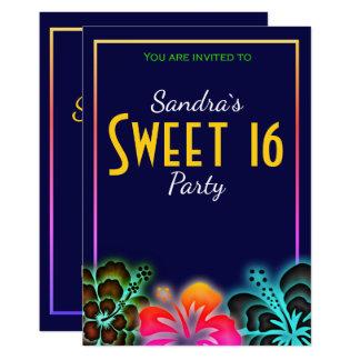 Tarjeta El fiesta de neón loco del dulce 16 invita