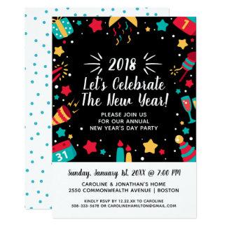 Tarjeta El fiesta del día de Noche Vieja celebra 2018