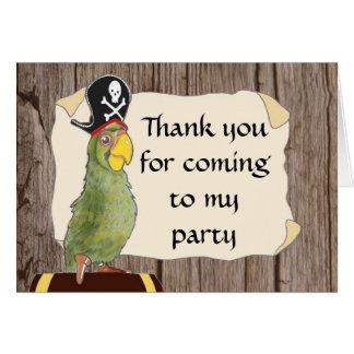 Tarjeta El fiesta del pirata le agradece cardar