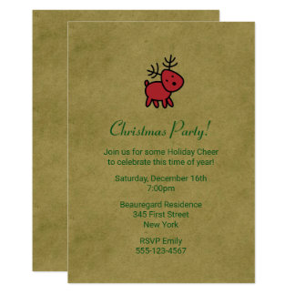 Tarjeta El fiesta rojo del ejemplo del reno del navidad