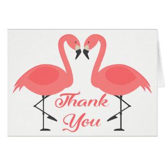 Tarjeta El flamenco rosado tropical le agradece - amor del