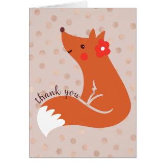 """Tarjeta El Fox lindo con la flor """"le agradece """""""