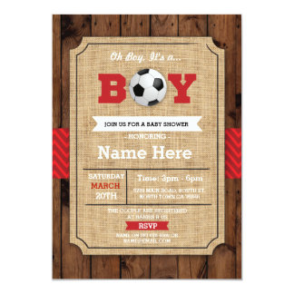 Tarjeta El fútbol de madera de la fiesta de bienvenida al