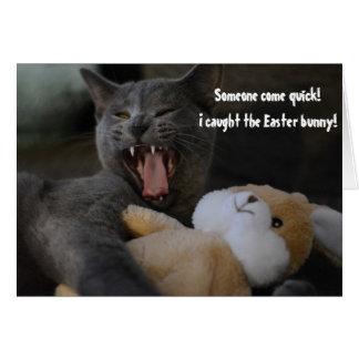 Tarjeta El gato cogió el saludo divertido del humor del