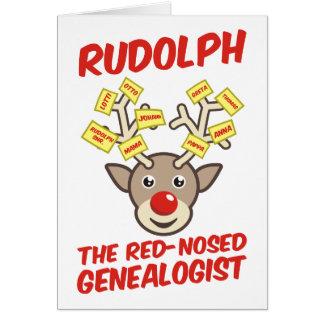 Tarjeta El Genealogist con la nariz roja