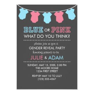Tarjeta El género azul o rosado revela al fiesta invita a