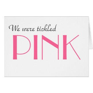 Tarjeta El género rosado elegante revela le agradece