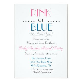 Tarjeta El género rosado o azul elegante revela la