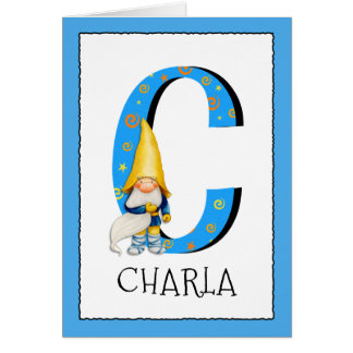 Tarjeta El gnomo embroma nombre de la letra C y el saludo