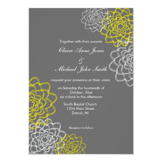 Tarjeta El gris/el casarse bosquejado amarillo de las