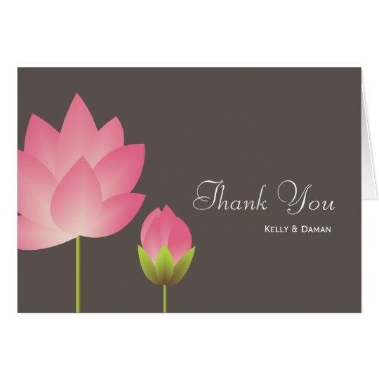 Tarjeta El gris moderno rosado de la flor de loto blanco
