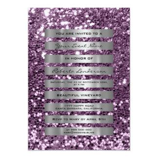 Tarjeta El gris plateado del purpurina raya la amatista