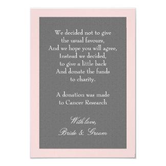 Tarjeta El gris y se ruboriza nota rosada de la donación