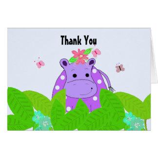 Tarjeta El hipopótamo púrpura del lunar le agradece