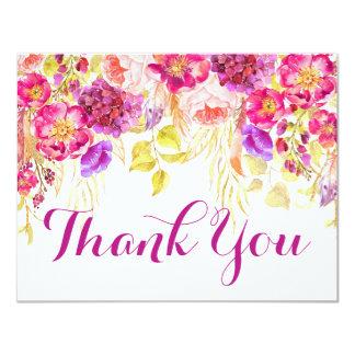 Tarjeta El Hydrangea subió acuarela floral le agradece