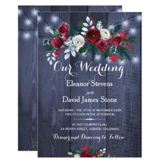 Tarjeta El invierno rústico enciende el boda floral de