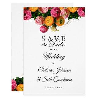 Tarjeta El jardín floral del rosa y del amarillo ahorra la