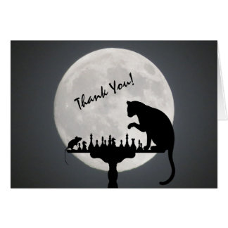 Tarjeta ¡El juego del gato y del ratón de la Luna Llena