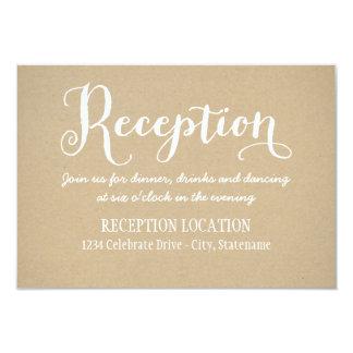 Tarjeta el | Kraft Brown de la recepción Invitación 8,9 X 12,7 Cm