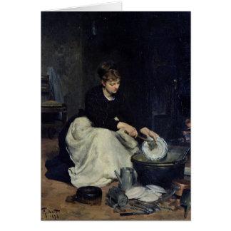 Tarjeta El lavado de la criada de la cocina