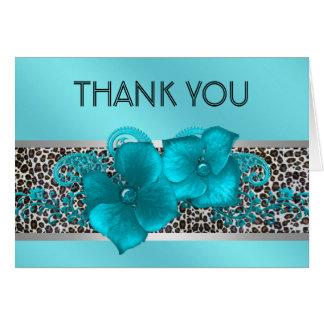 Tarjeta El leopardo azul verde azulado negro le agradece