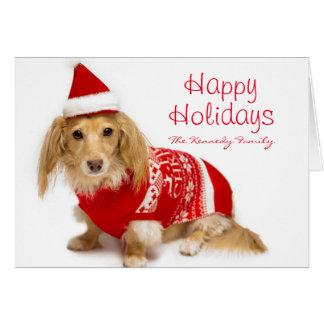 Tarjeta El llevar de pelo largo del dachshund navidad rojo