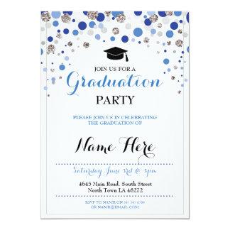 Tarjeta El lunar de plata azul del fiesta de la graduación