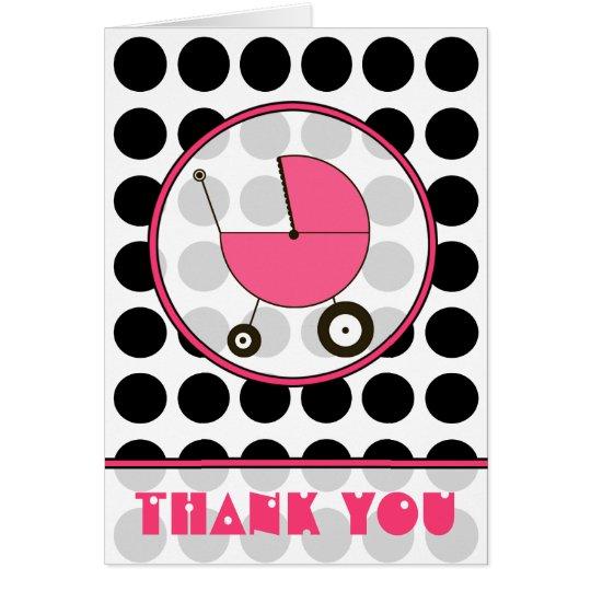 Tarjeta El lunar negro/el carro de bebé rosado le agradece