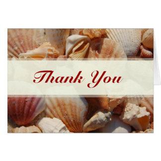 Tarjeta El mar Shell del boda de playa le agradece las