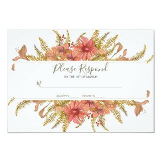 Tarjeta El marco floral rústico responde por favor cerca