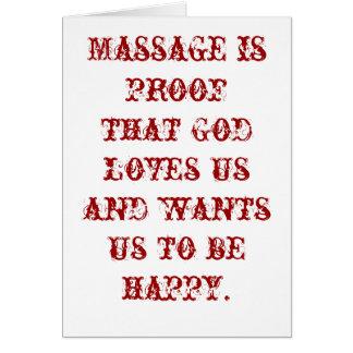 Tarjeta El masaje es prueba que dios nos ama en blanco