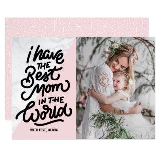 Tarjeta El mejor día de madre de las letras del rosa y de