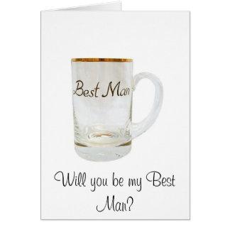 Tarjeta ¿el mejor hombre, usted será mi mejor hombre?