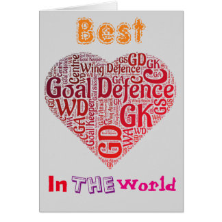 Tarjeta El mejor Netball del amor de la defensa de la meta