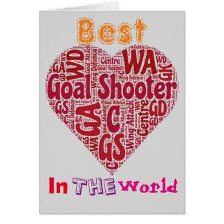 Tarjeta El mejor Netball del amor de la pistola de la meta