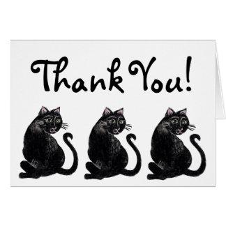 Tarjeta El modelo del gato negro le agradece cardar