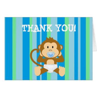 Tarjeta El mono rayado azul y verde le agradece las notas