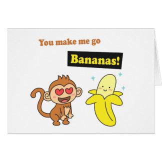 Tarjeta El mono va los plátanos, humor lindo del amor