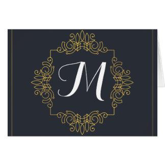 Tarjeta El monograma elegante el | del azul y del oro