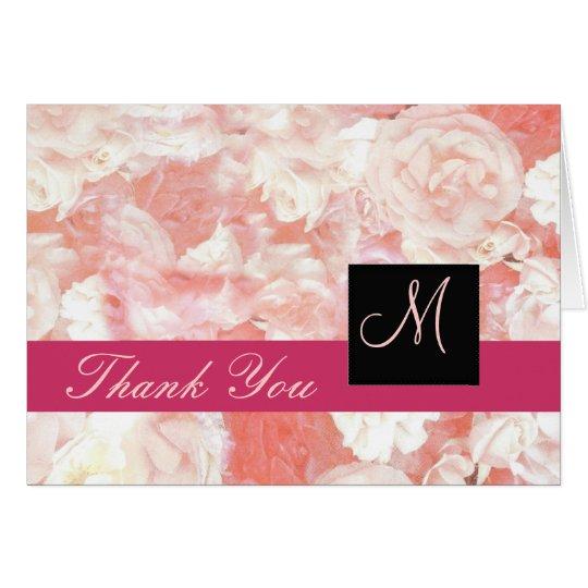 Tarjeta El monograma rosado de los rosas le agradece