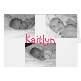 Tarjeta el nacimiento del kaitlyn anuncia