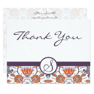 Tarjeta El naranja y la púrpura Swirly del vintage floral