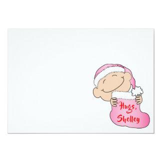"""Tarjeta El navidad 7"""" x 5"""" los rosas bebés agradece You/2"""