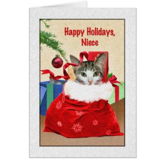 Tarjeta El navidad de la sobrina, gato debajo del árbol