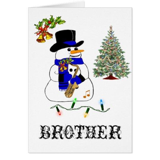Tarjeta El navidad de un muñeco de nieve