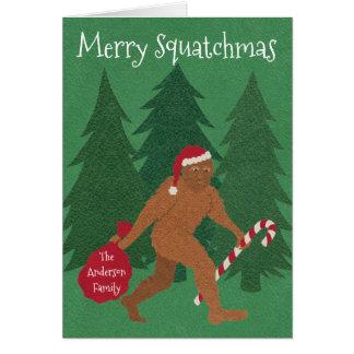 Tarjeta El navidad de Z Santa Squatch añade su nombre