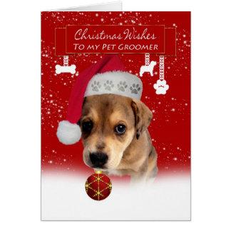 Tarjeta el navidad del groomer del mascota desea la