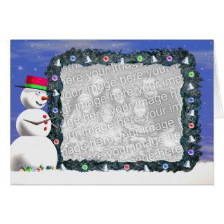 Tarjeta El navidad del muñeco de nieve (ancho) (marco de