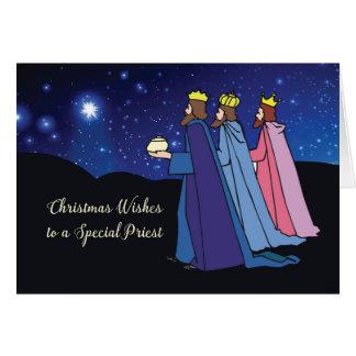Tarjeta El navidad del sacerdote desea a tres reyes en la