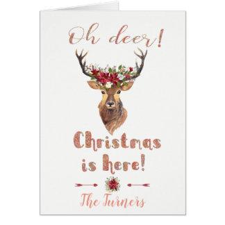 Tarjeta El navidad elegante de los ciervos de los ciervos